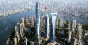 Un rendering di come sarà lo skyline di Pudong al completamento della Shanghai Tower
